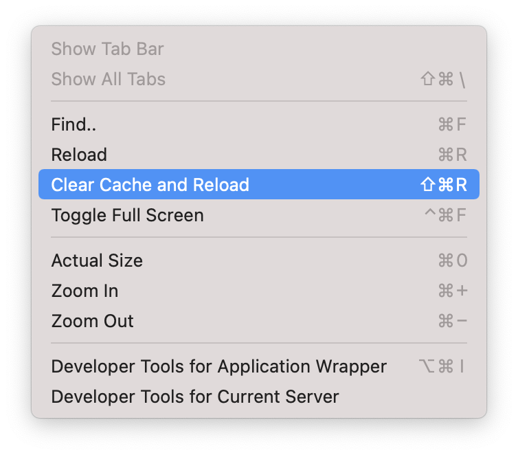 """A screenshot of the View menu for Mattermost. It shows a number of options with """"Clear cache and Reload"""" being highlighted. This menu also contained an item called """"Developer Tools for Current Server"""" which we will be accessing later."""