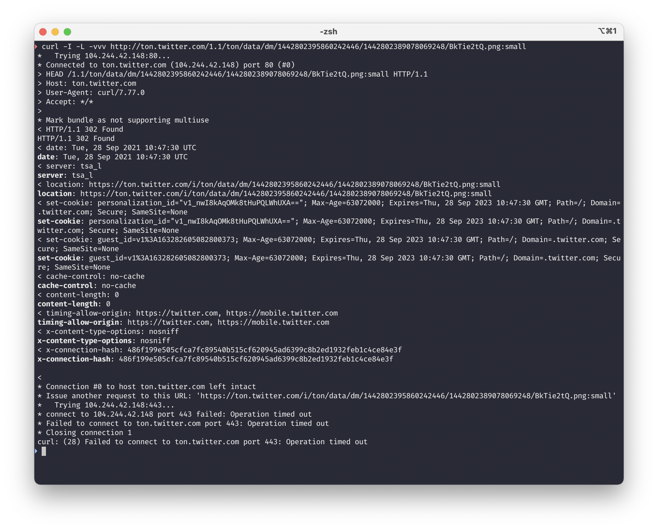 A screenshot of a terminal window with two curl commands. The first is requesting an image link over http port 80 in verbose mode. It responds as expected, with the content being a redirect to https. The second command is the prior link but accessed via https and it fails with a timeout.
