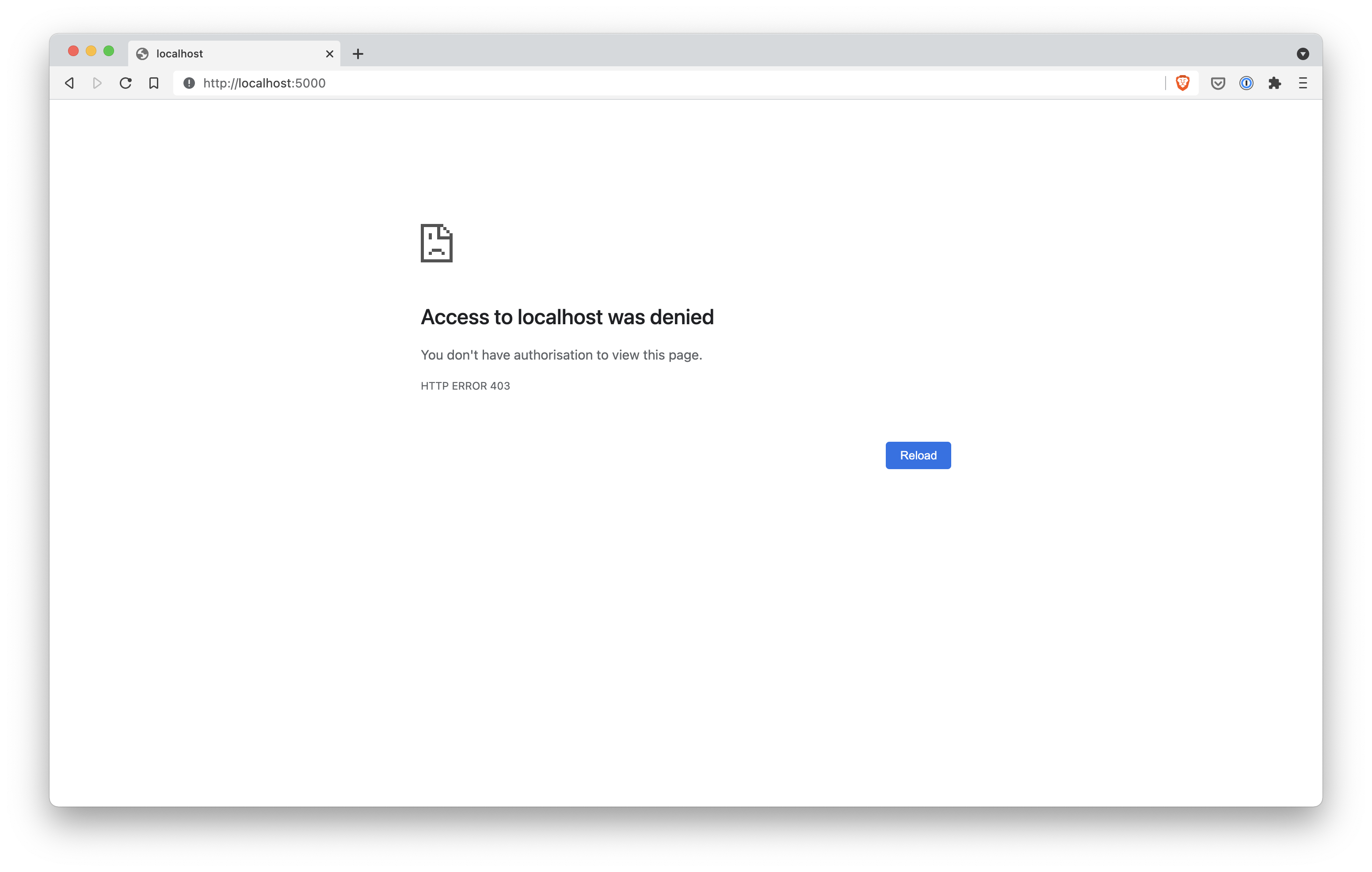 A Brave browser window showing 403 Forbidden when trying to view localhost port 5000