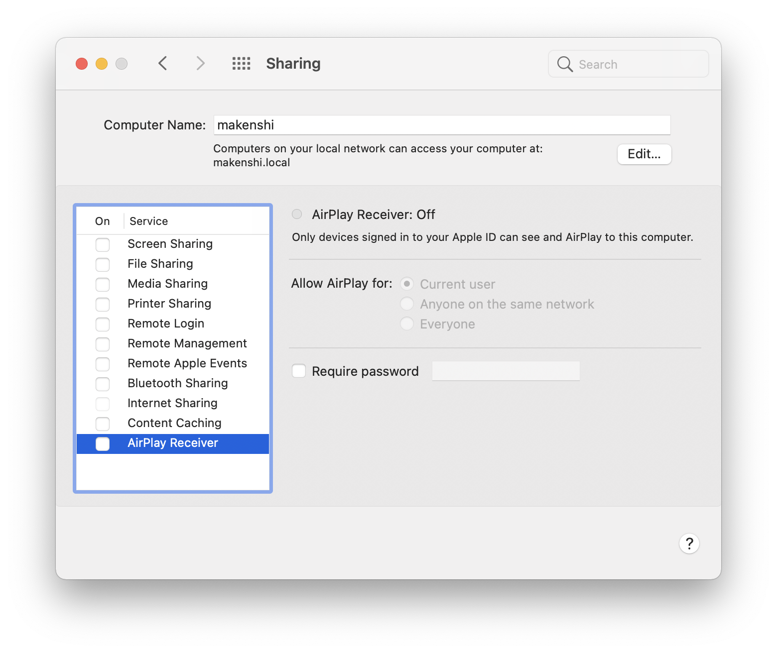 A screenshot showing the Sharing pane of macOS System Preferences. Airplay Receiver has been unticked.