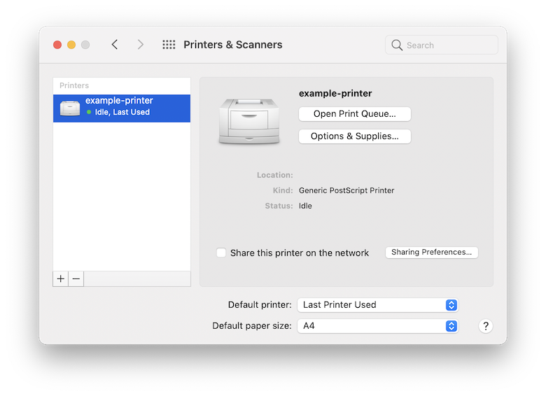 A screenshot of the macOS System Preferences pane for printing. It shows one registered printer on the left called example-printer which is sitting idle. It has the type Generic PostScript Printer. Nothing here indicates the queue name.