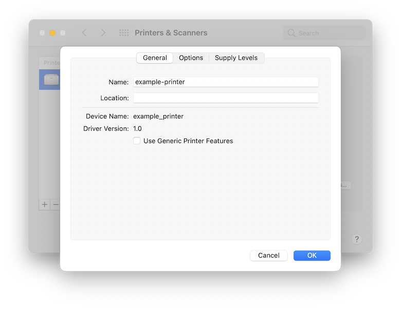 A screenshot of the macOS System Preferences pane. It has the settings window open for the printer from earlier called example-printer. There are only a few piece of information such as device name and driver version which are not helpful at all. There is only a single interactive checkbox with the label Use Generic Printer Features with no description of what that means. There is still nothing to indicate the queue name we are looking for.